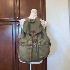 Vtg Jansport Rucksack cinch top backpack leather